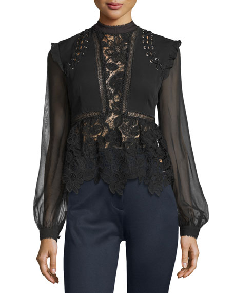 Image 1 of 3: Floral-Lace Long-Sleeve Top, Black