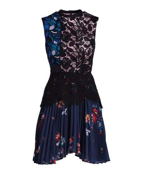 Nina Floral-Lace Pleated Mini Dress