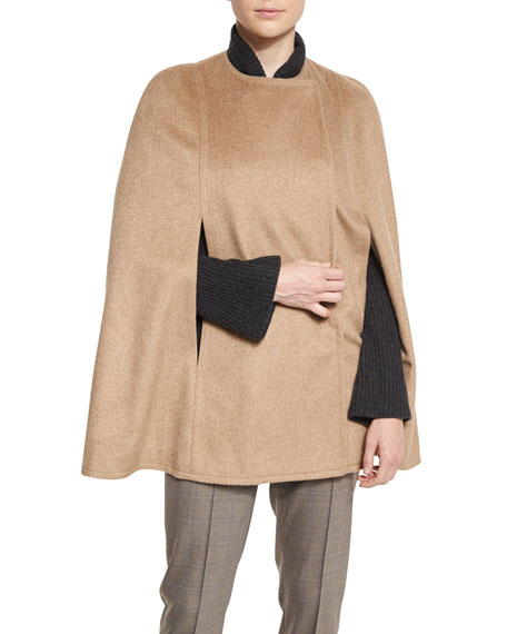 Elie Tahari Marta Double-Faced Wool-Blend Cape, Gingersnap