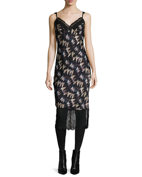 Diane von Furstenberg Margarit Printed Slip Dress, Army