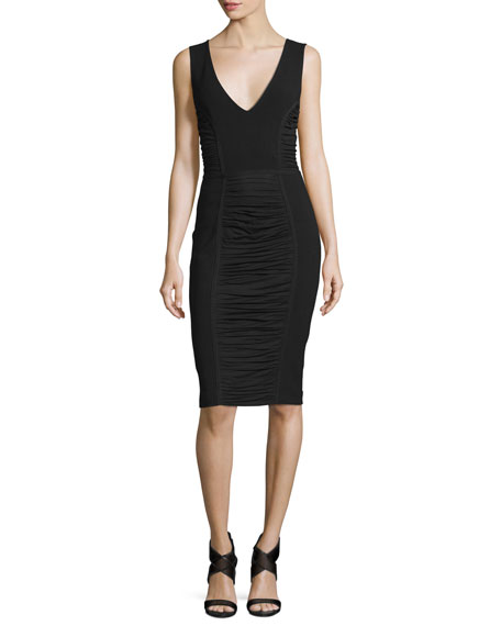 Diane von Furstenberg Alannah Shirred-Panel Sheath Dress