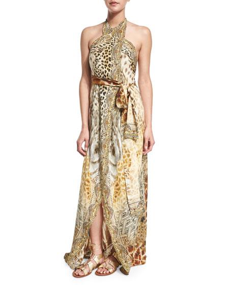 Camilla Printed Halter Wrap Dress Coverup, Leopard's Leap