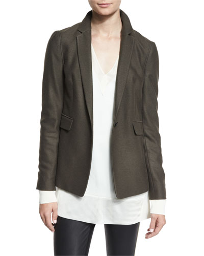 Club Wool Single-Button Jacket, Army Green