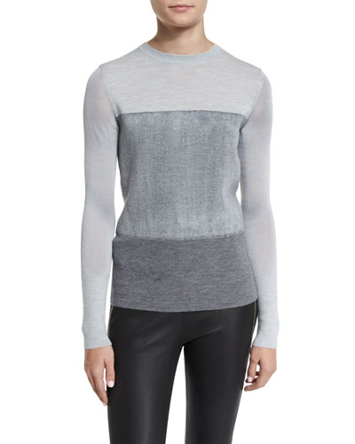 Marissa Colorblock Crewneck Wool Top, Light Gray