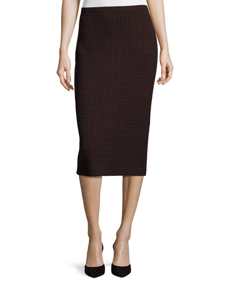 Theory Ornita J Evian Houndstooth Pencil Skirt, Black/Sumac