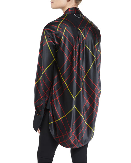 Edith Silk Satin Plaid Blouse, Black