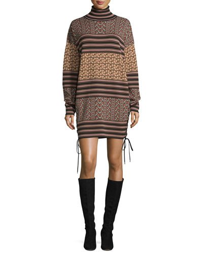 Fran Mixed-Pattern Turtleneck Sweaterdress