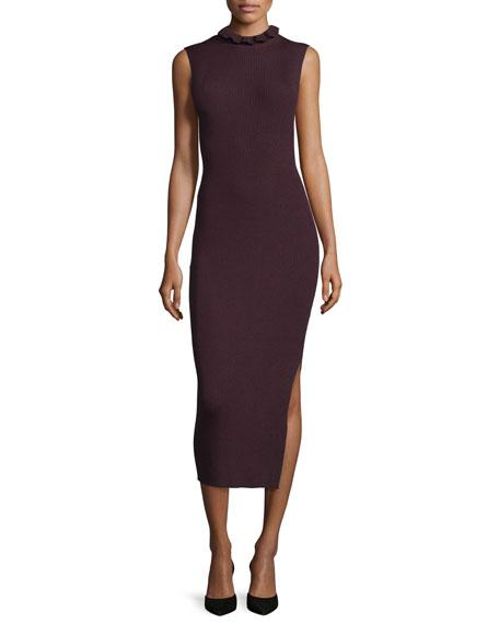 Hedrisa Lustrate Ribbed-Knit Mock-Neck Dress