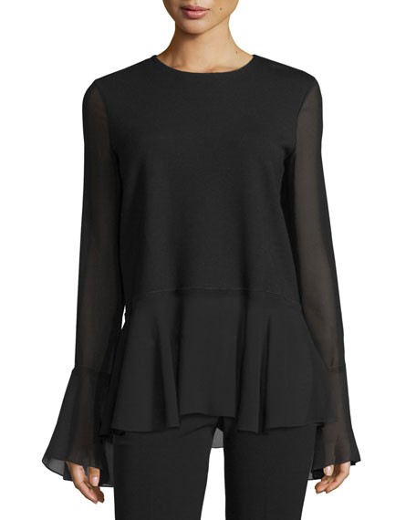 Theory Lexanda C Idol Bell-Sleeve Peplum Top, Black