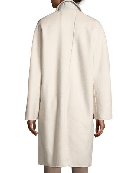 Ellington Boxy Mink-Trimmed Cashmere Coat, Ecru