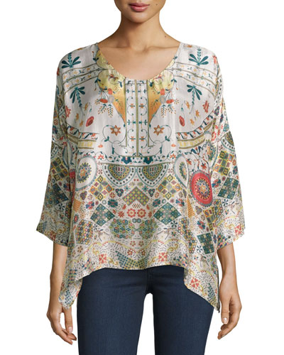 Emmy 3/4-Sleeve Printed Silk Boxy Top