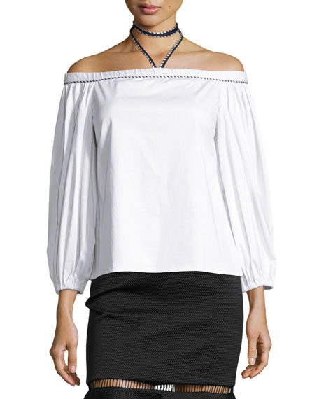 Alexis Karen Off-the-Shoulder Halter Top, White