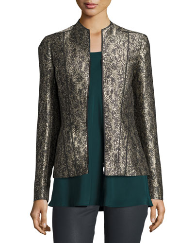 Eliza Paneled Brocade Jacket, Petrol Multi
