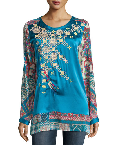 Fly Embroidered Mix-Print Silk Top, Plus Size