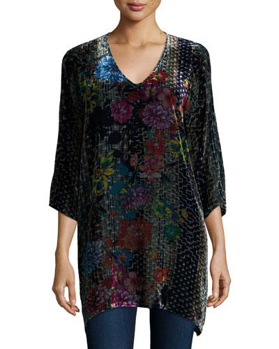 Tappa Floral-Print Velvet Tunic