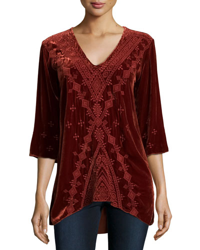 Shobah 3/4-Sleeve Embroidered Velvet Tunic, Rust, Plus Size