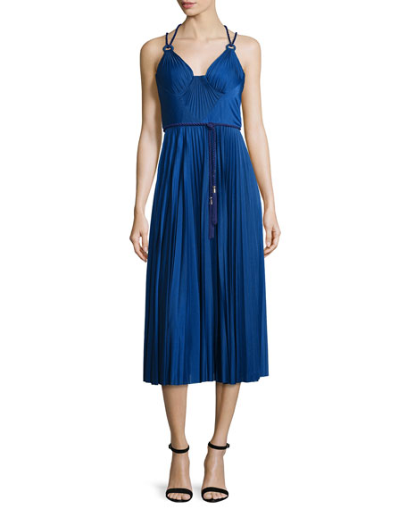 Catherine Deane Sleeveless Belted Pleated Cocktail Dress, Cobalt