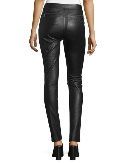Warrior Paneled Leather Pants, Black