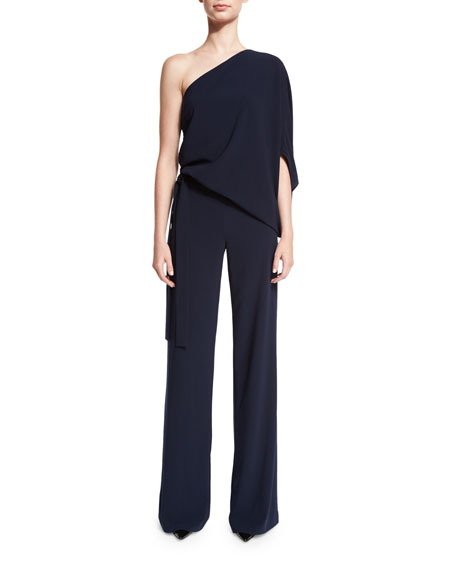 One-Shoulder Draped Stretch Crepe Jumpsuit