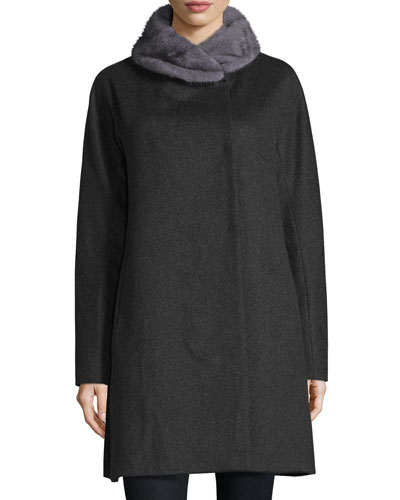 Mink-Trim Felt Coat, Charcoal