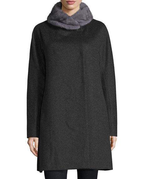 Sofia Cashmere Mink-Trim Felt Coat, Charcoal