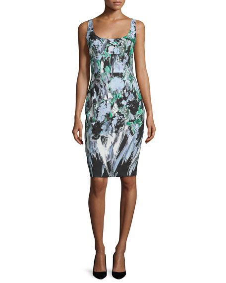 Milly Sleeveless Painterly Floral-Print Sheath Dress, Black Multi