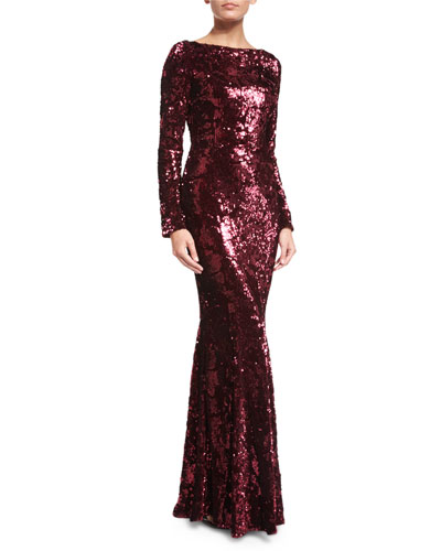 Sequined Boat-Neck Long-Sleeve Gown, Burgundy