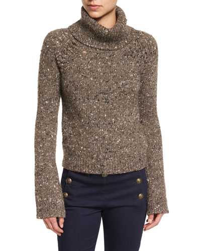 Indie Melange Turtleneck Sweater, Brown