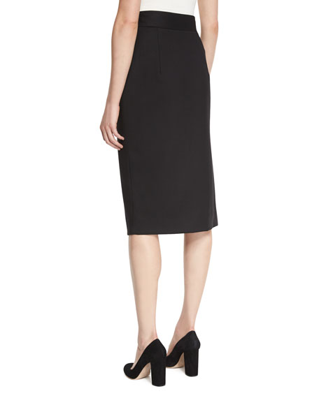 Italian Stretch-Wool Gabardine Pencil Skirt, Black