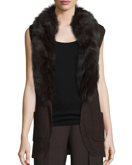 Kobi Halperin Kyla Fur-Trim Belted Sweater Vest, Chocolate