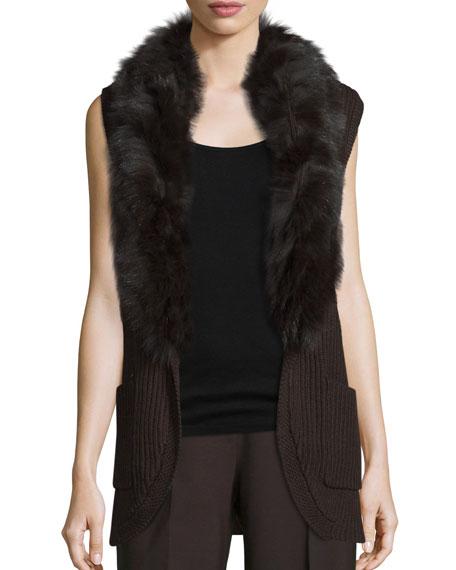 Kobi Halperin Kyla Fur-Trim Belted Sweater Vest, Chocolate