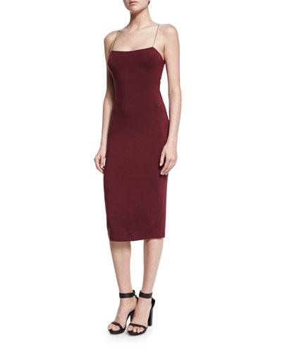 Strappy Camisole Midi Dress, Wine