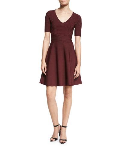 Short-Sleeve Ribbed-Trim Circle Dress, Wine