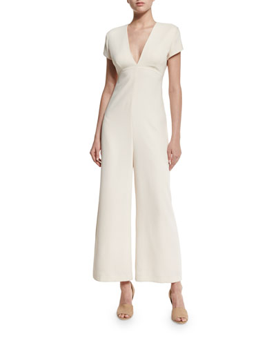 Open-Back Crepe Wide-Leg Jumpsuit, Sandstone