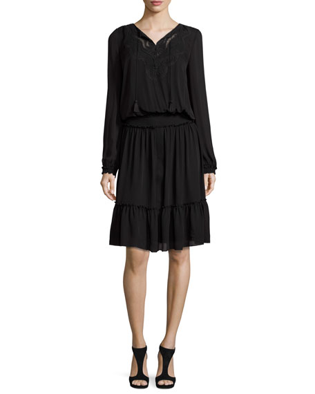 Marla Tiered Silk Dress w/ Embroidered Yoke, Black