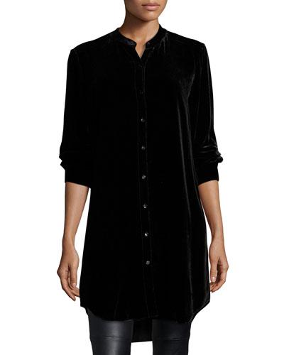 Long Washable Velvet Tunic Top, Black, Plus Size