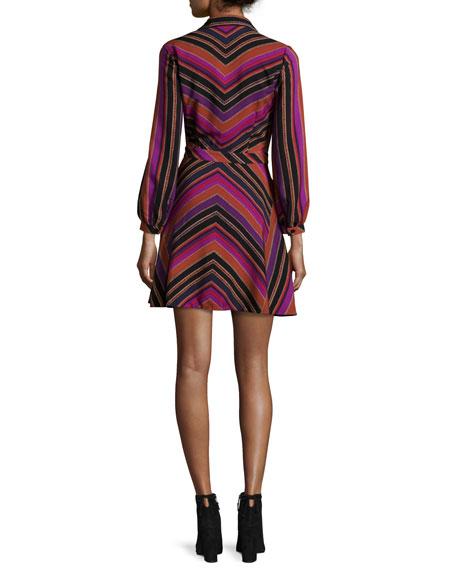 Chrissie Chevron-Stripe Shirtdress, Counterpointe Rubiate