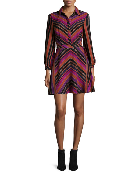 Chrissie Chevron-Stripe Shirtdress, Counterpointe Rubiate