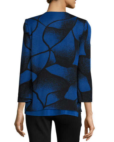 Misook Petite Ribbed Bracelet-Sleeve Jacket, Lyons Blue/Black