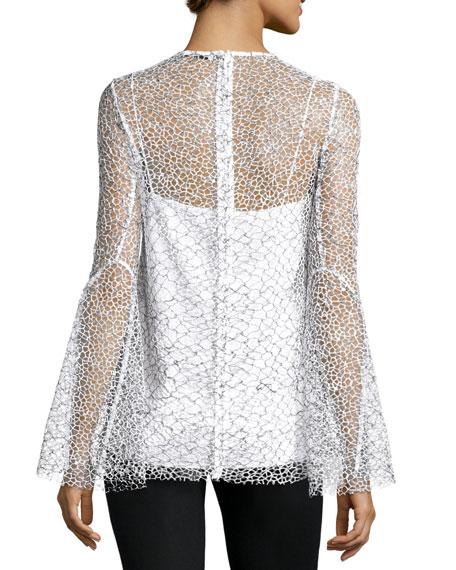 Long-Sleeve Mesh Tunic, Black/White