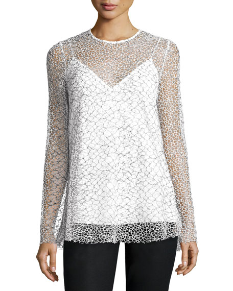 Long-Sleeve Mesh Tunic, Black/White