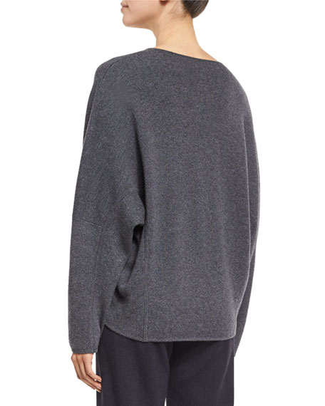 Lace-Up Oversized Sweater, Heather Graphite