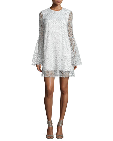 Camilla & Marc Long-Sleeve Netted Cocktail Dress, White