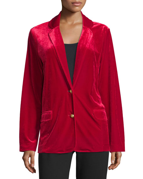 Image 3 of 3: Joan Vass Plus Size Velvet Two-Button Blazer