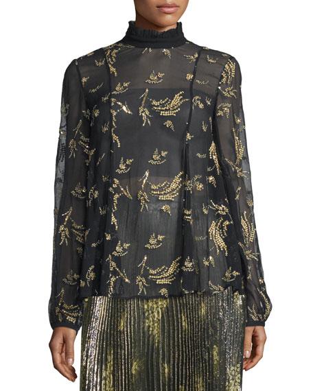 Suno Long-Sleeve Sheer Floral Silk Chiffon Top, Black/Gold