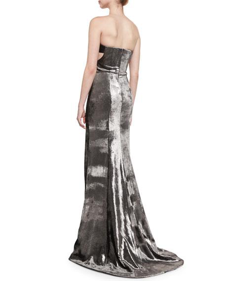 Panne Velvet Strapless Gown, Carbon Silver
