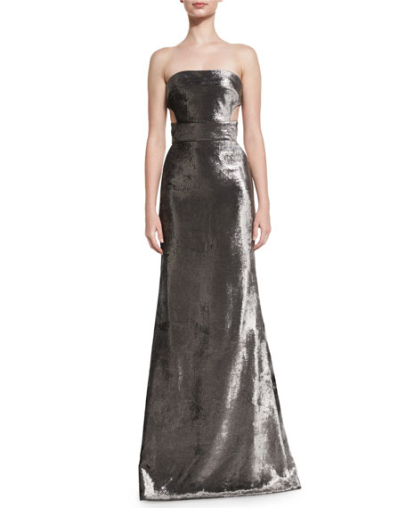 Kaufman Franco Panne Velvet Strapless Gown, Carbon Silver