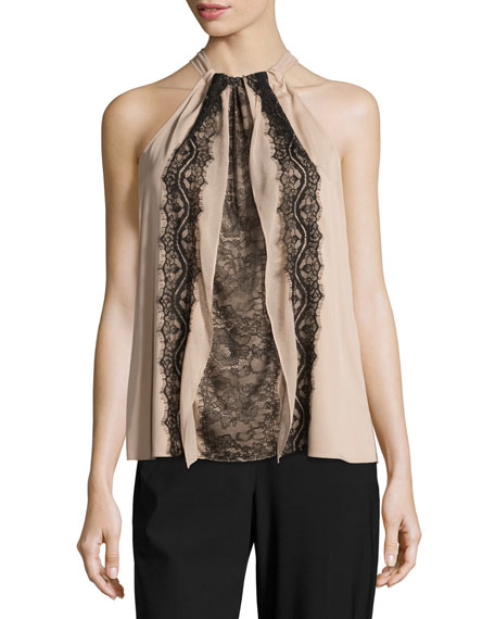 Monica Lace-Trimmed Silk Halter Blouse