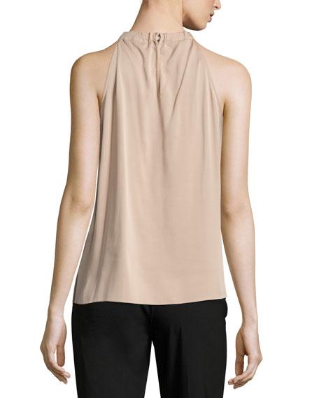 Monica Lace-Trimmed Silk Halter Blouse