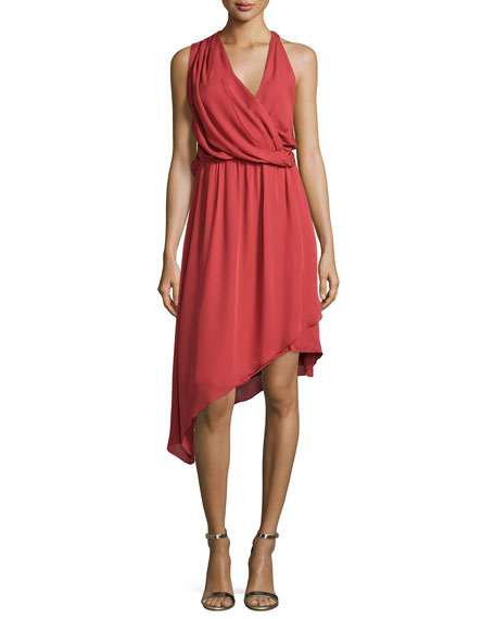 Sleeveless Asymmetric Silk Dress, Red Rose